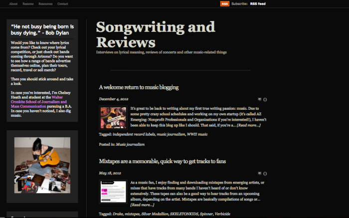 music blog screenshot